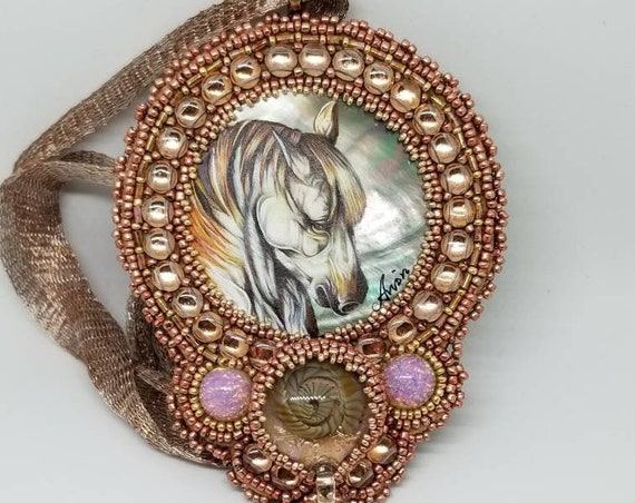 A horse named Angel Fire pendent Rita Caldwell Native American inspired