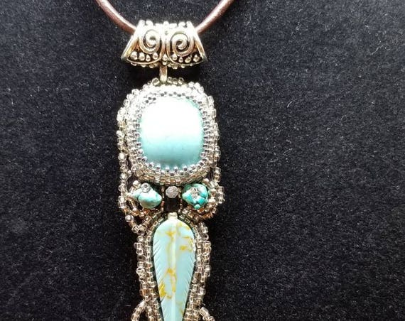 Silver turquoise pendent Native American inspired Beadwork Dreams Raven