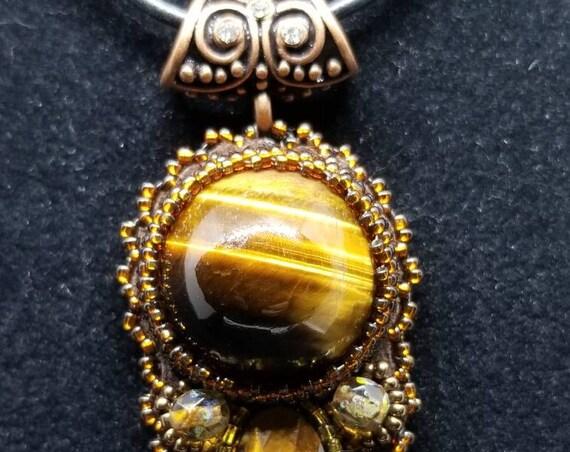 Tigers eye pendent Native American inspired Beadwork Dreams Raven