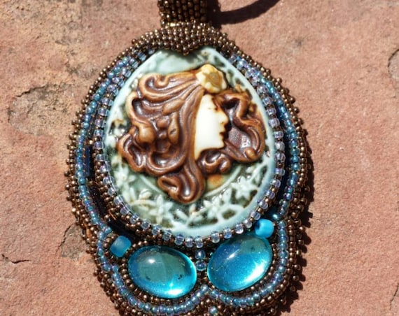 Mystical Goddes Pendent native american inspired beadwork by Beadworkdreamsraven.