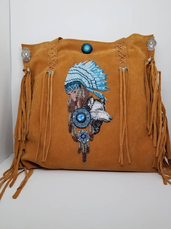 Wolf feathers handmade bag