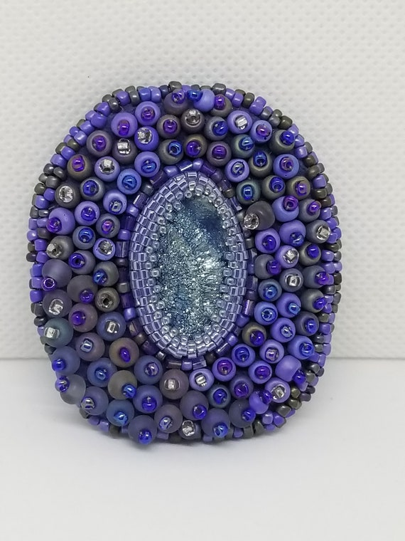 Purple Druzy broach