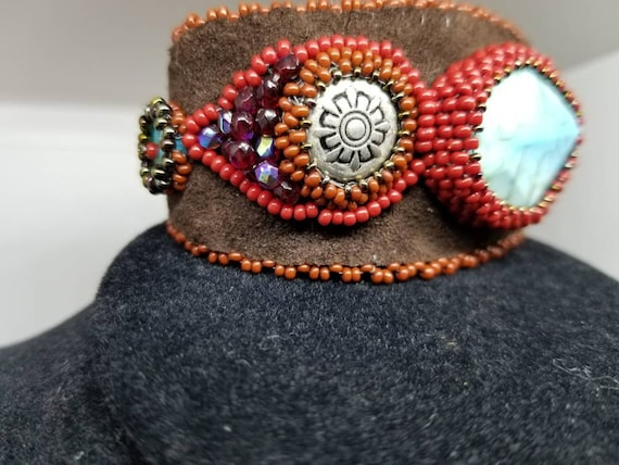 Turquoise coral bracelet Native American inspired  Rita Caldwell