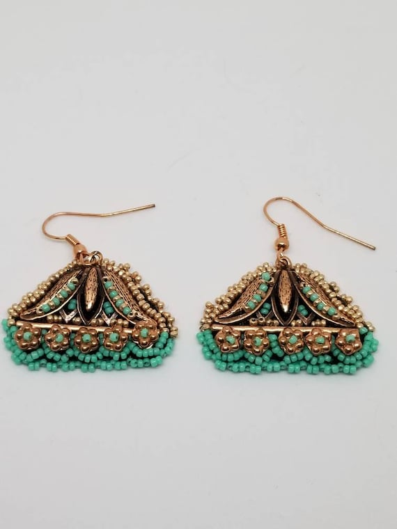 Gold turquoise earrings Rita Caldwell Native American inspired