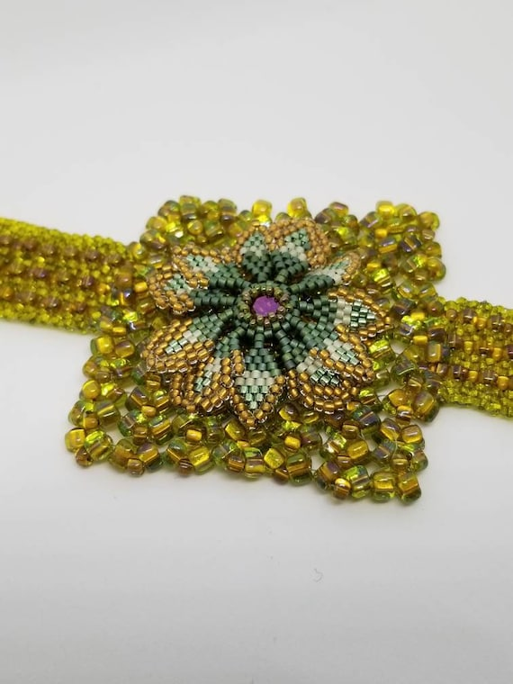 Green flowers bracelet of autumn Native American Rita Caldwell