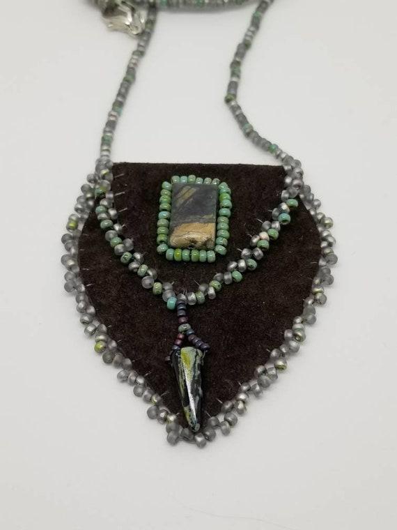 Amulet bag dark brown Rita Caldwell Native American inspired