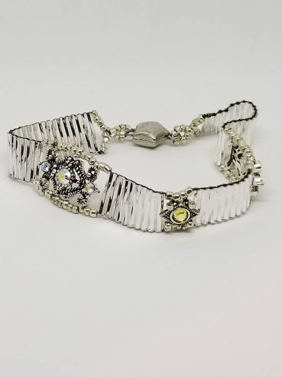 Silver wedding bracelet Rita Caldwell Native American inspired