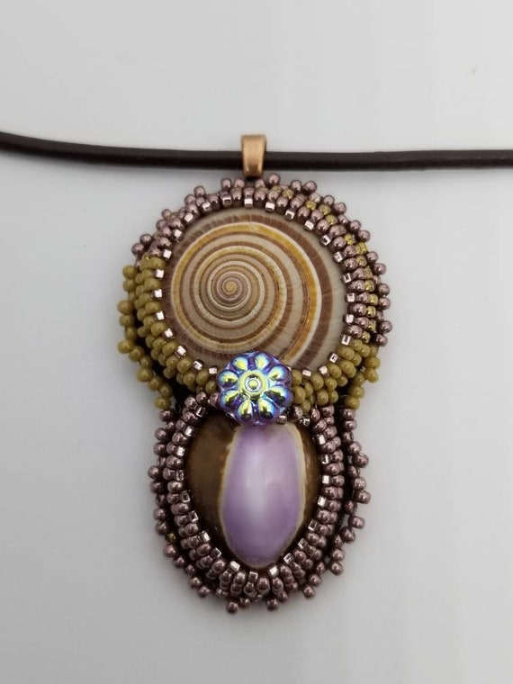 Two shells pendent Native American inspired Rita Caldwell