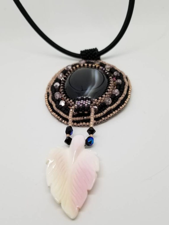Damascus Obsidian pendent Native American inspired Rita Caldwell