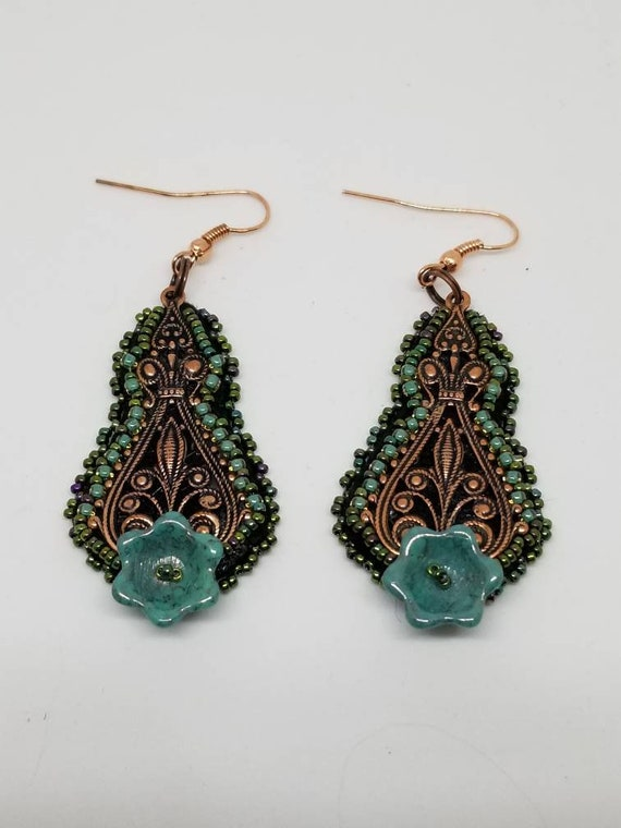 Green and brass earrings Rita Caldwell Native American inspired