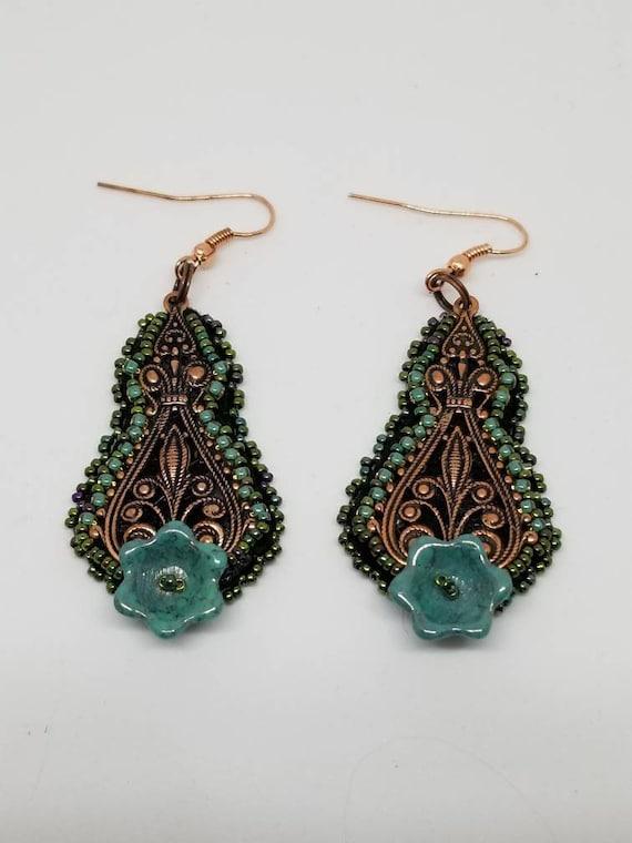 Green and brass earrings Rita Caldwell Native American inspired