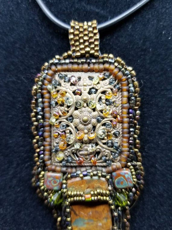 Painted Jasper pendent Native American inspired by Beadwork Dreams Raven