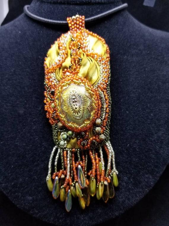 Shimmering Autumn Silk pendent Native American inspired Rita Caldwell