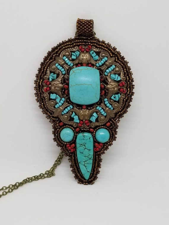 Turquoise mandela pendant Native American inspired Beadwork Rita Caldwell
