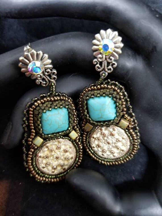 Turquoise silver earrings Native American inspired Beadwork Dreams Raven