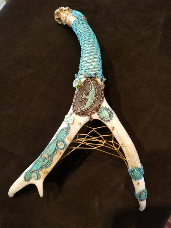 Deer antler talking stick Native American inspired Rita Caldwell