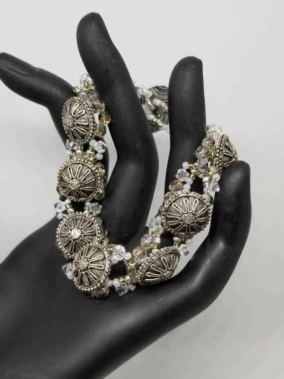 Silver crystal bracelet Rita Caldwell Native American inspired beadwork