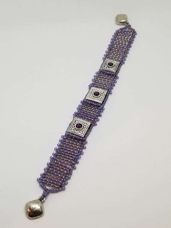 Purple silver bracelet Rita Caldwell Native American inspired