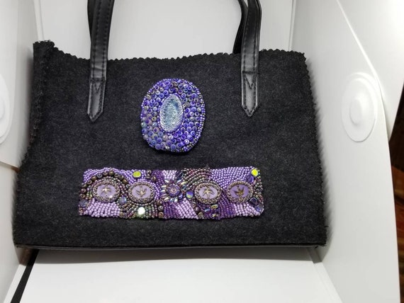 Amethyst beads and birds handbag Native American inspired Rita Caldwell