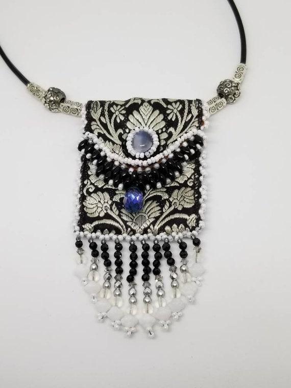Black White amulet bag Rita Caldwell Native American inspired