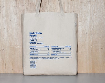 Nutrition Facts Canvas Tote Bag, Funny Bag for School, Humorous Cotton Shopping Bag, Best Birthday Gift for Teens, Long Strap Book Bag