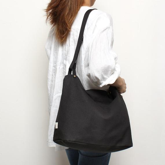 e89de49492a Black Shoulder Bag Zip Bag Tote Sling Bag Diapers bag   Etsy