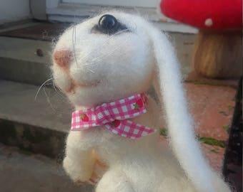 white bunny. Needle felted, OOAK bunny rabbit. Collectible needle felted wool bunny.
