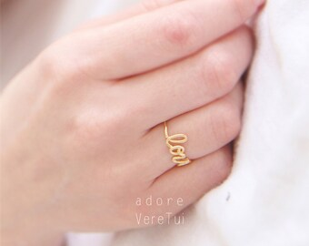 Gold Love Thin Wire Letter Band Ring