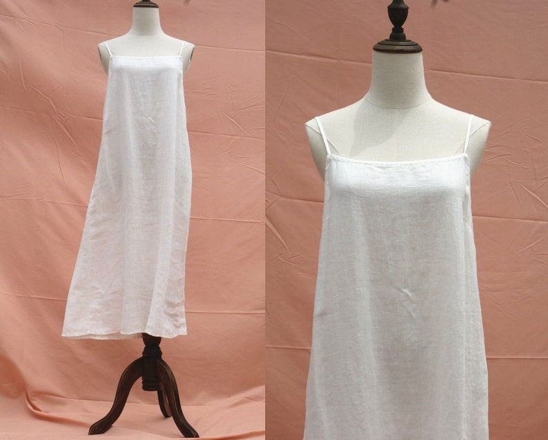 4186e4e528a59 37 color linen white dress loose dress slip dress linen night dress linen  nightgown braces dress clothing for women handmade dress