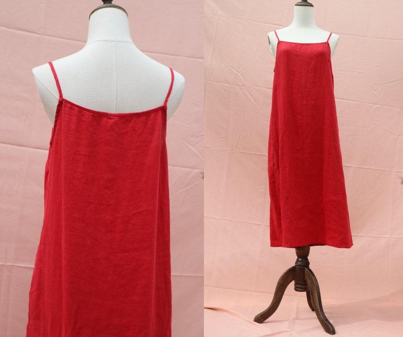 cdb42b7596df7 37 color linen red dress loose dress slip dress linen night dress linen  nightgown braces dress clothing for women handmade dress