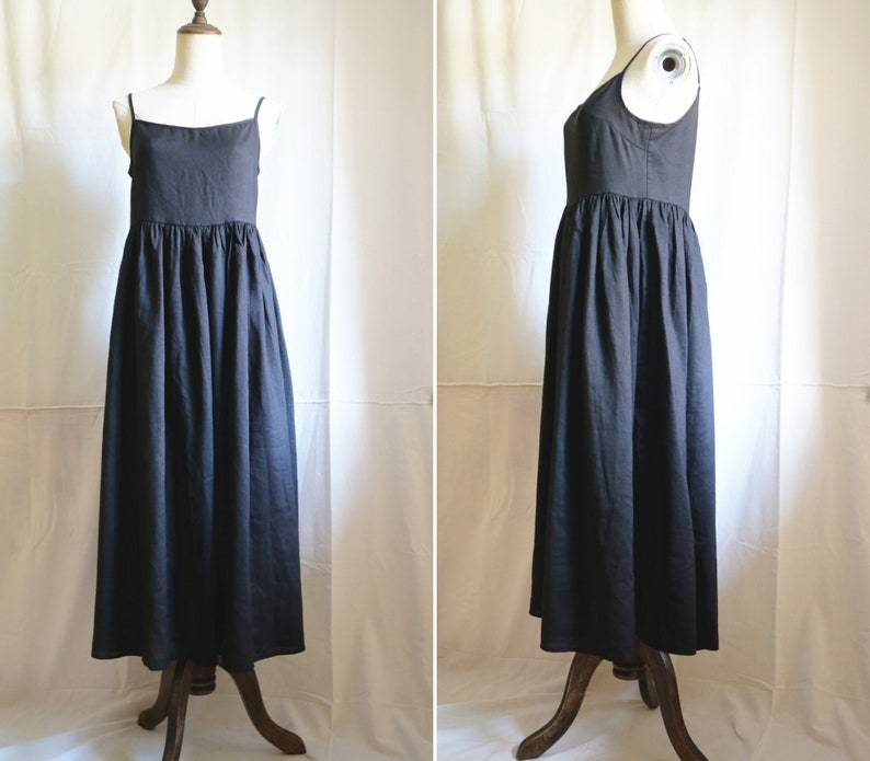 black linen long dress loose and comfortable slip dress sleeveless summer womens slip dress Travel clothing dress for women