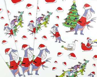 santa claws wrapping paper christmas gift wrap wrapping paper funny wrapping paper dinosaur dinosaur christmas christmas wrap - Christmas Wrap