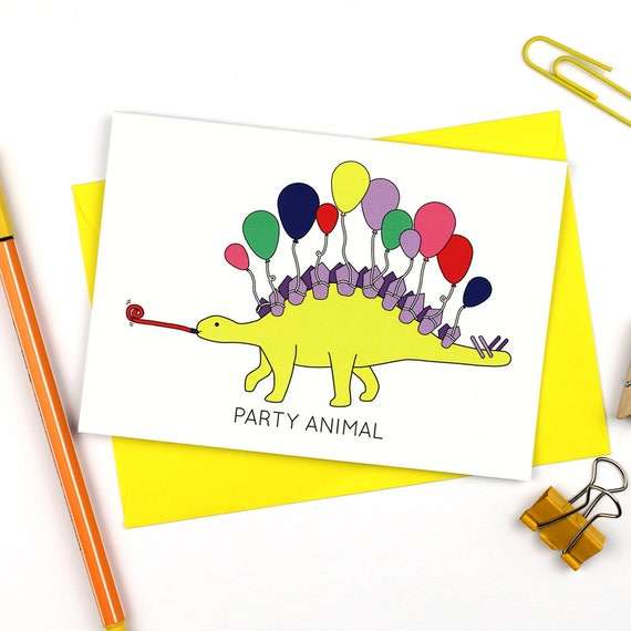 Party Animal Greeting Card Birthday Card Stegosaurus Card Etsy