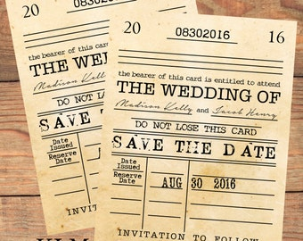inspired collection library card save the date