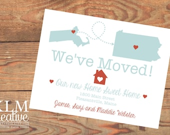 Inspired Collection - We've Moved / New Home Announcement Postcard with State Shapes