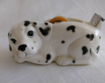 Vintage Ortagiri dalmation tape dispenser hand painted ceramic dog 1980s