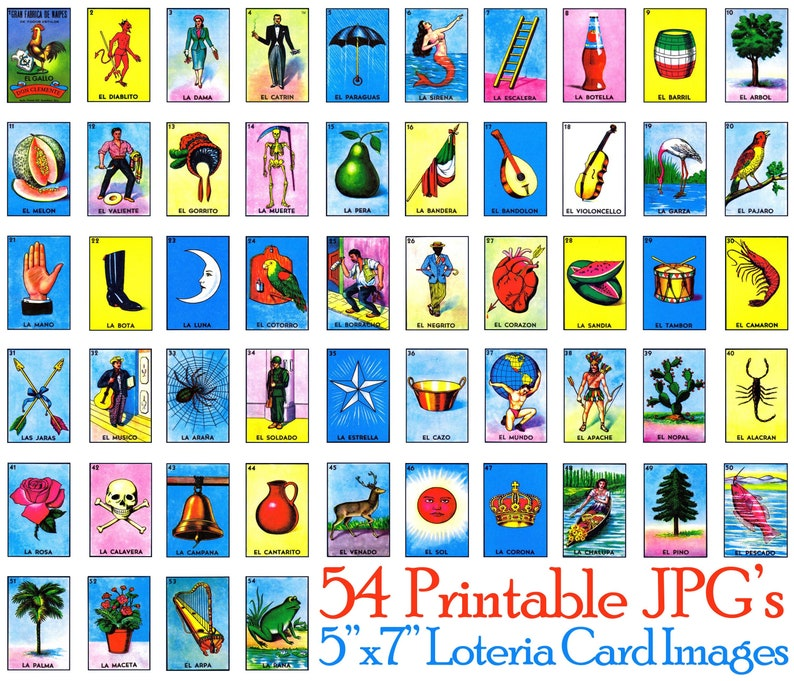 picture about Loteria Cards Printable named Loteria Mexicana Card Shots (54 Independent Information) \