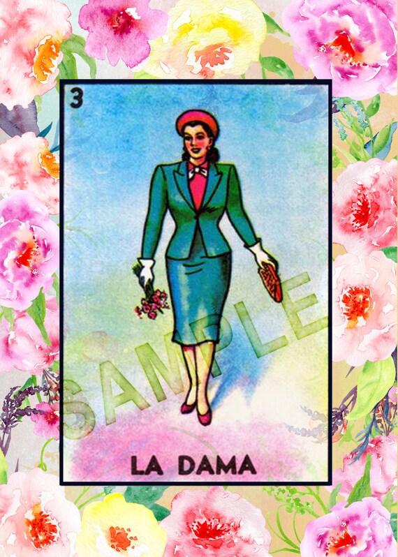 image about Loteria Printable identify La Dama 5x7 Mexican Loteria Printable - \