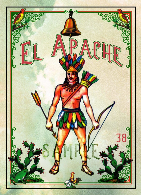image relating to Printable Loteria Mexicana titled Mexican Loteria, El Apache 5\