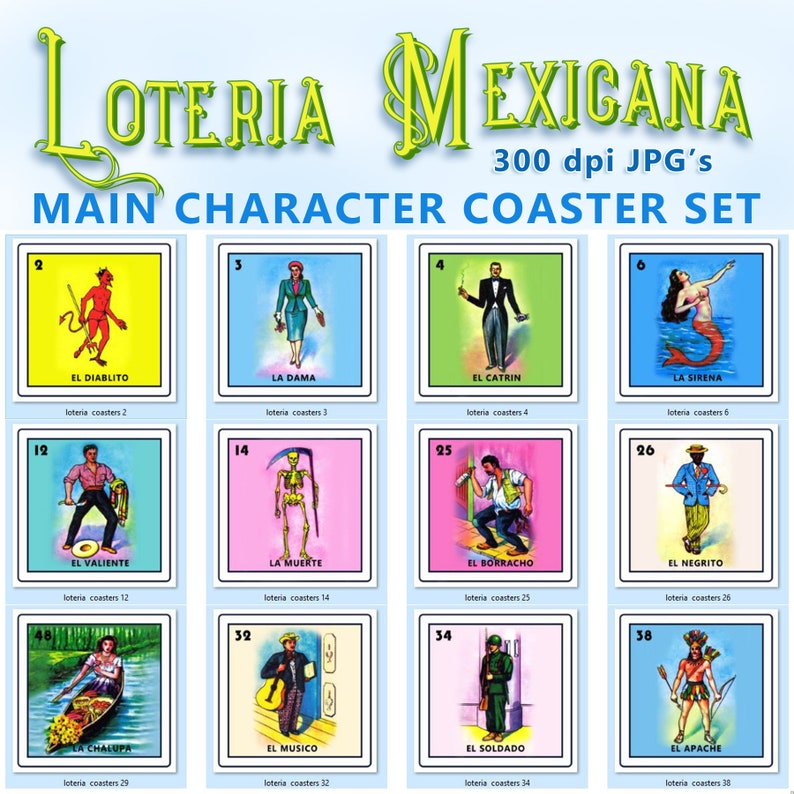 photograph relating to Loteria Printable identified as Mexican Loteria Printable Coaster Pictures (12 Seprate Documents) - Reg. 14.99 Upon Sale Already!