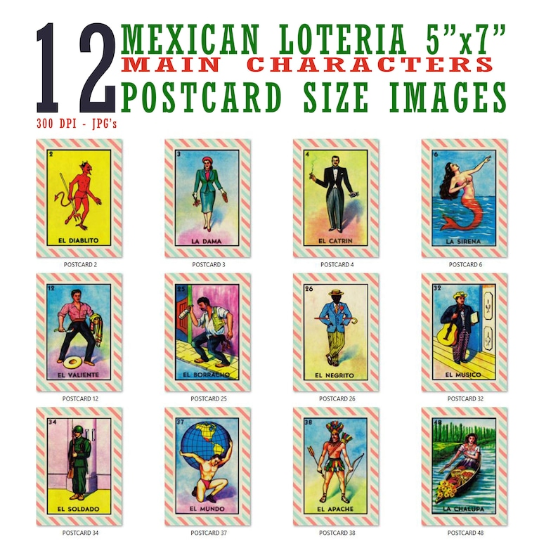 picture relating to Free Printable Loteria Cards titled 5x7 Mexican Loteria Card Visuals (12 Different Information) - Reg. 9.99 Upon Sale At this time!