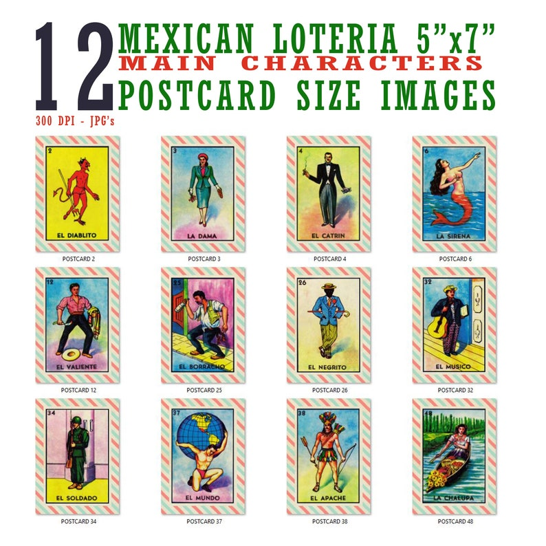 photo relating to Free Printable Loteria Cards known as 5x7 Mexican Loteria Card Illustrations or photos (12 Different Documents) - Reg. 9.99 Upon Sale Already!