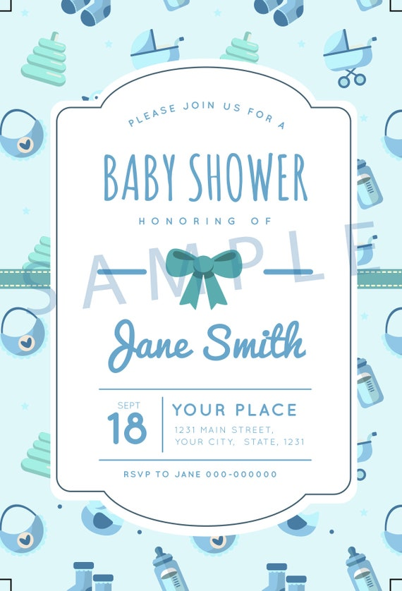 baby boy invite template 4 x 6 300 dpi editable printable etsy