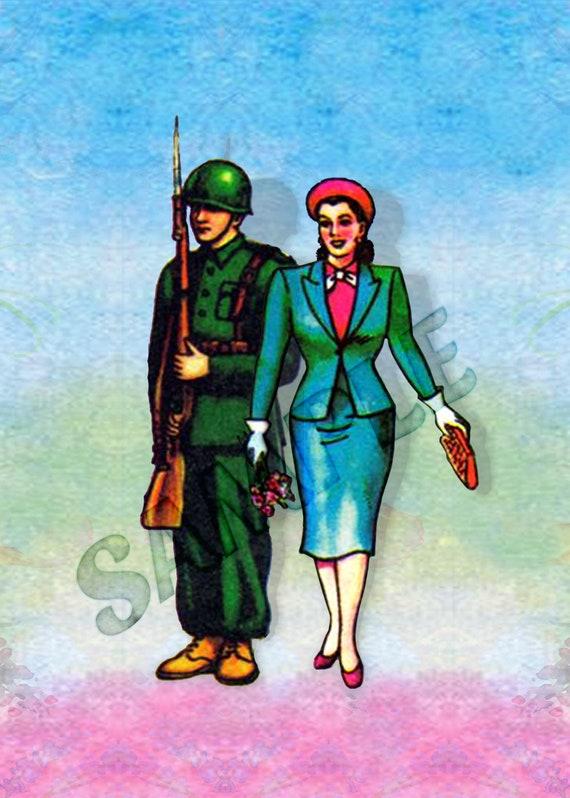 picture about Loteria Printable named El Soldado y La Dama 5x7 Mexican Loteria Printable via