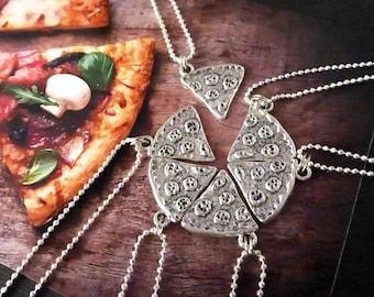 Set of 7 Pizza Slice Friendship Necklace Best Friends Jewelry Family Charm