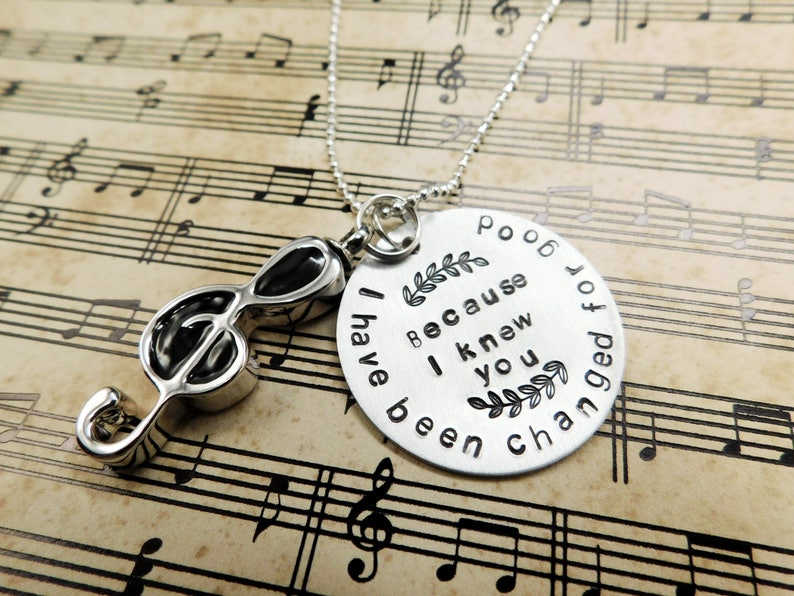 URN Music Note Pendant /& Funnel Holds Cremation Ashes Sympathy Gift Quote : I have been changed for the good Memorial Necklace
