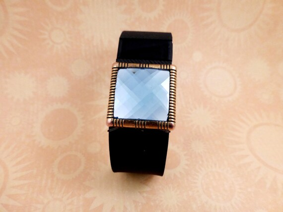 FITBIT Add On : Square Gloden Blue Gem - Band Accessory - Charge HR Jewelry  - Bling Gem for Fitness Tracker Bracelet