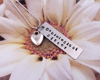 BEST FRIEND - Unbiological Sister - Bar Necklace - Heart Charm - Friendship Gift - Thank you - Inspirational