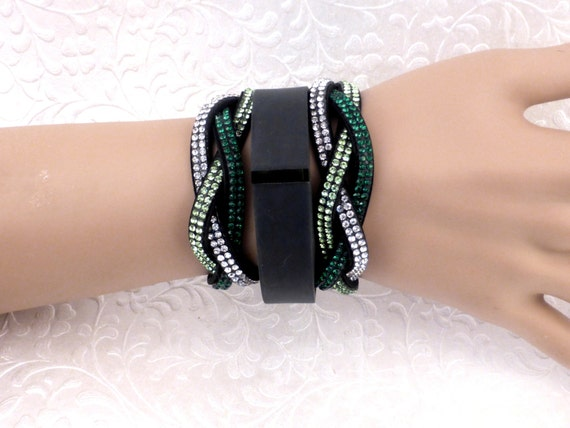 CLEARANCE SALE - Dress up your Fitbit Alta , Flex / Charge HR Fitness  Tracker Watch / Green Bling Braided Cuff Bracelet