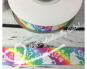 """7/8"""" Grosgrain Lt. Glitter Unicorn Silhouette on 5 Colors iIncluding Rainbow and Pastel Ombre High Quality USDR Ribbon"""